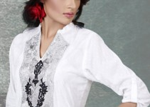 White Self Embossed Kurti with Tights & Scarf (2)