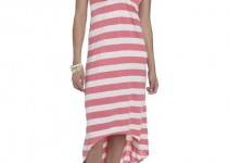 Crochet Back Striped Maxi Dress