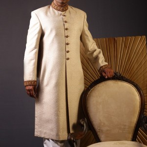 Cream Color Sherwani for Men 1 300x300 Sherwani Designs for Men Wedding Dress by Junaid Jamshed (JJ) sherwani designs new trends mens corner groom collection  Sherwani New Designs Sherwani Designs for Men Wedding Dress Sherwani by JJ Mens Eastern Wear Men Wedding Dress Junaid Jamshed JJ Groom SHerwani Design Groom Collection