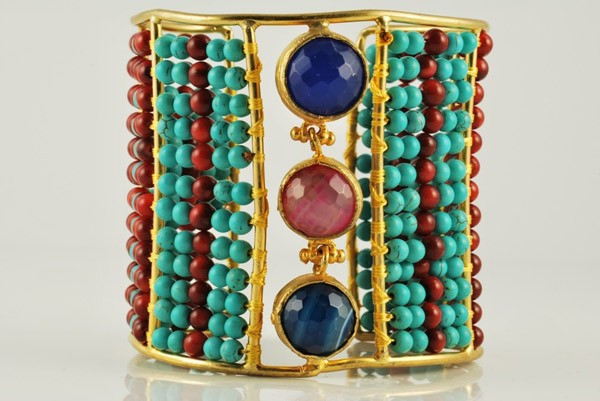 Multi Color Beads With Beautiful Stones Bangle for Girls