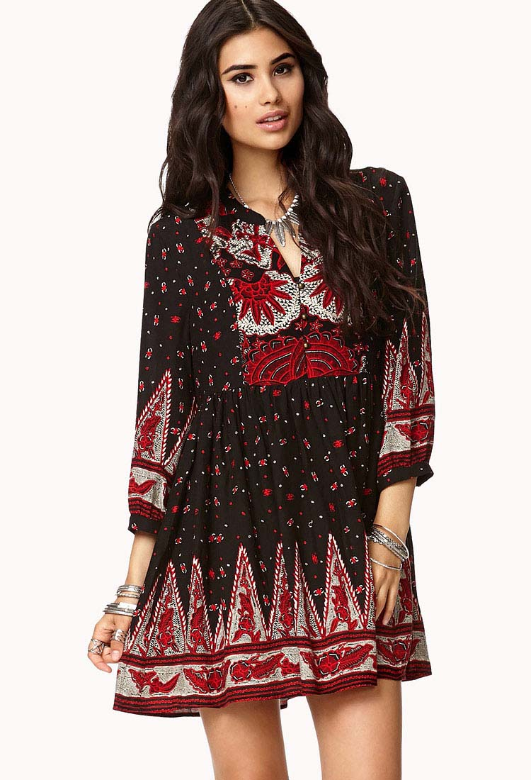 Boho Floral Peasant Dress